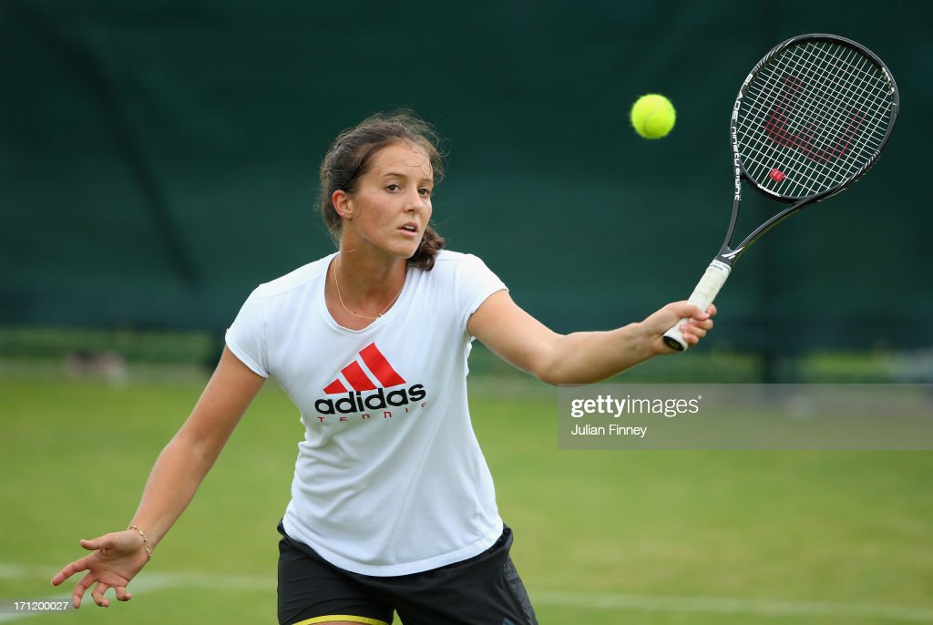<a gi-track='captionPersonalityLinkClicked' href=/galleries/search?phrase=Laura+Robson&family=editorial&specificpeople=5421044 ng-click='$event.stopPropagation()'>Laura Robson</a> of Great Britain in a practice session during previews for Wimbledon Championships at Wimbledon on June 23, 2013 in London, England.