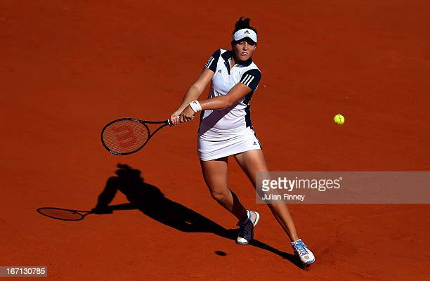 Laura Robson of Great Britain in action against Paula Ormaechea of Argentina during day two of the Fed Cup World Group Two PlayOffs between Argentina...