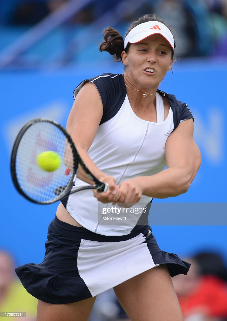 <a gi-track='captionPersonalityLinkClicked' href=/galleries/search?phrase=Laura+Robson&family=editorial&specificpeople=5421044 ng-click='$event.stopPropagation()'>Laura Robson</a> of Great Britain in action against Yuliya Beygelzimer of Ukraine during Day Four of the AEGON Internationa at Devonshire Park on June 18, 2013 in Eastbourne, England.