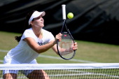 Laura Robson of Great Britain in action during a training session on Middle Sunday at Wimbledon on June 30 2013 in London England