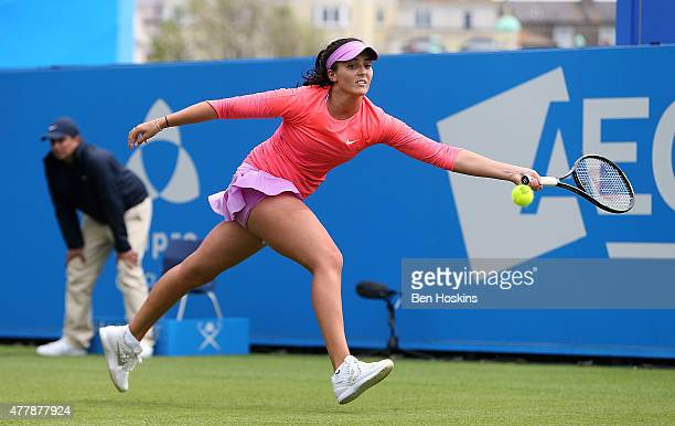 Laura Robson of Great Britain in action during her AEGON International qualifying match against Daria Gavrilova of Russia at Devonshire Park on June...