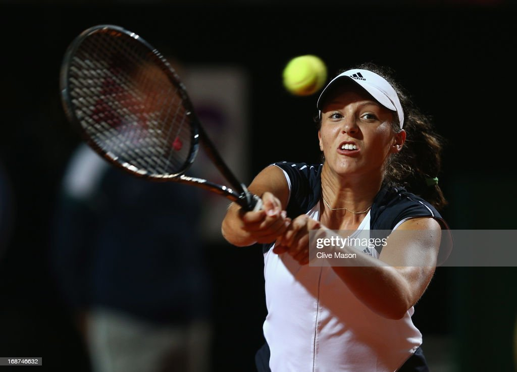 <a gi-track='captionPersonalityLinkClicked' href=/galleries/search?phrase=Laura+Robson&family=editorial&specificpeople=5421044 ng-click='$event.stopPropagation()'>Laura Robson</a> of Great Britain in action during her second round match against Serena Williams of the USA on day three of the Internazionali BNL d'Italia 2013 at the Foro Italico Tennis Centre on May 14, 2013 in Rome, Italy.