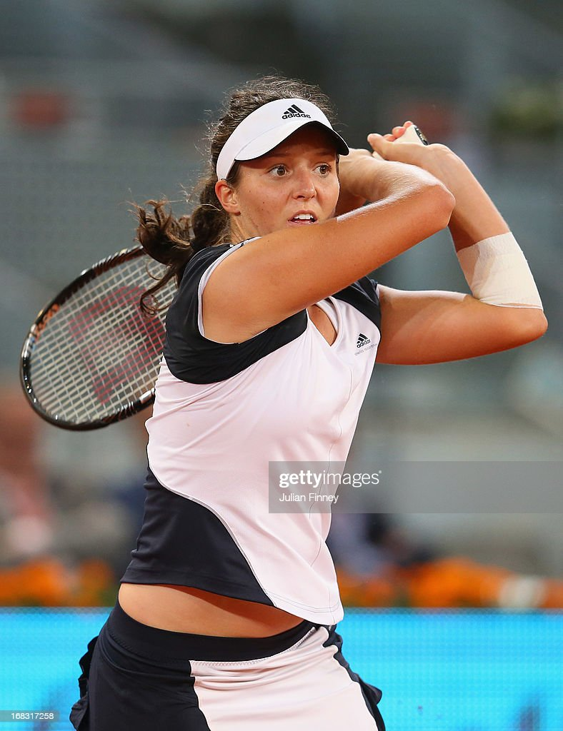 Laura Robson of Great Britain in action in her match against Ana Ivanovic of Serbia during day five of the Mutua Madrid Open tennis tournament at the Caja Magica on May 8, 2013 in Madrid, Spain.