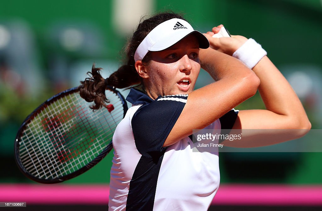 <a gi-track='captionPersonalityLinkClicked' href=/galleries/search?phrase=Laura+Robson&family=editorial&specificpeople=5421044 ng-click='$event.stopPropagation()'>Laura Robson</a> of Great Britain in action in her match against Florencia Molinero of Argentina during day one of the Fed Cup World Group Two Play-Offs between Argentina and Great Britain at Parque Roca on April 20, 2013 in Buenos Aires, Argentina.