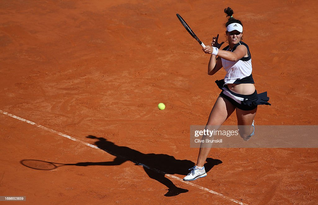 Laura Robson of Great Britain leaps to hit the final point against Venus Williams of the USA in their first round match during day two of the Internazionali BNL d'Italia 2013 at the Foro Italico Tennis Centre on May 13, 2013 in Rome, Italy.