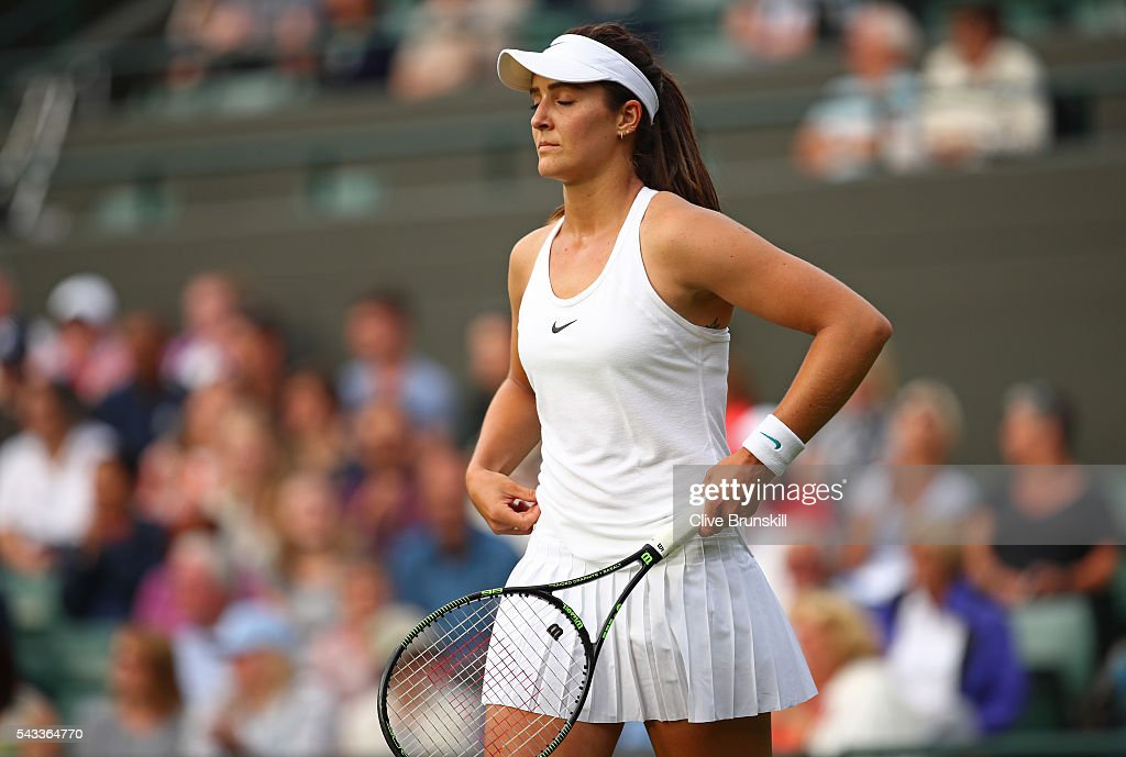 <a gi-track='captionPersonalityLinkClicked' href=/galleries/search?phrase=Laura+Robson&family=editorial&specificpeople=5421044 ng-click='$event.stopPropagation()'>Laura Robson</a> of Great Britain looks dejected during the Ladies Singles first round match against Angelique Kerber of Germany on day one of the Wimbledon Lawn Tennis Championships at the All England Lawn Tennis and Croquet Club on June 27th, 2016 in London, England.