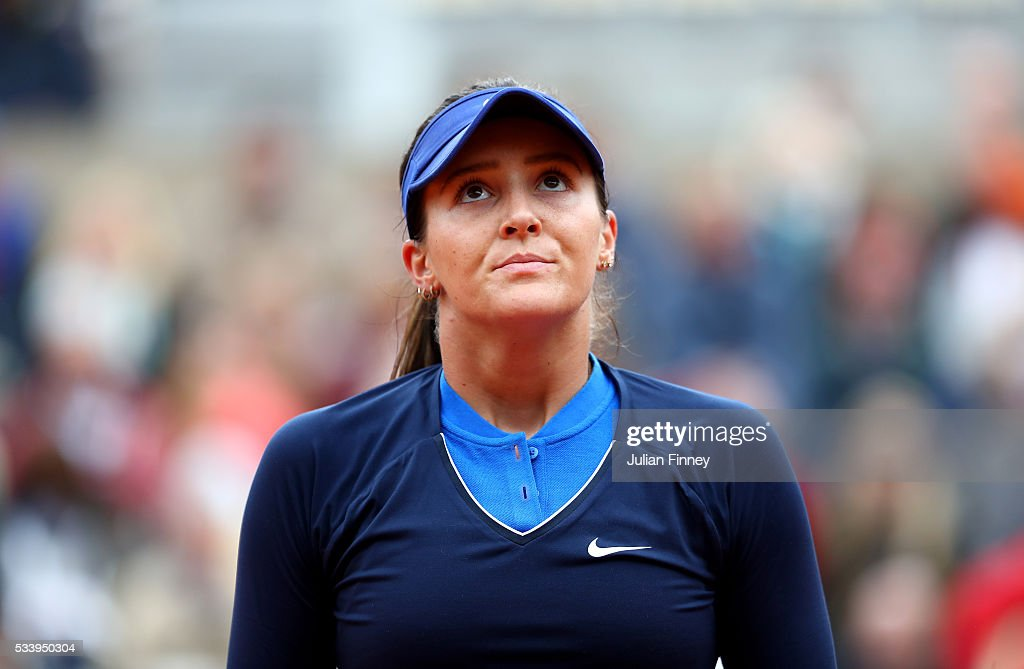 <a gi-track='captionPersonalityLinkClicked' href=/galleries/search?phrase=Laura+Robson&family=editorial&specificpeople=5421044 ng-click='$event.stopPropagation()'>Laura Robson</a> of Great Britain looks dejected during the Women's Singles first round match against Andrea Petkovic of Germany on day three of the 2016 French Open at Roland Garros on May 24, 2016 in Paris, France.