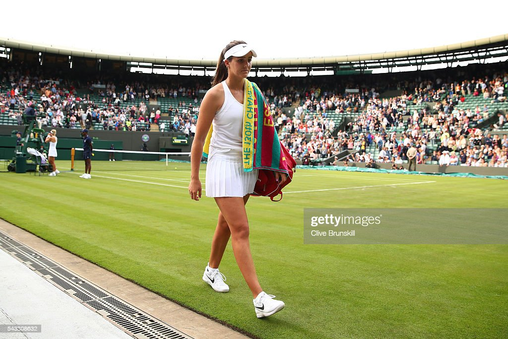 Laura Robson of Great Britain looks on as she leaves court one following defeat in the Ladies Singles first round match against Angelique Kerber of Germany on day one of the Wimbledon Lawn Tennis Championships at the All England Lawn Tennis and Croquet Club on June 27th, 2016 in London, England.