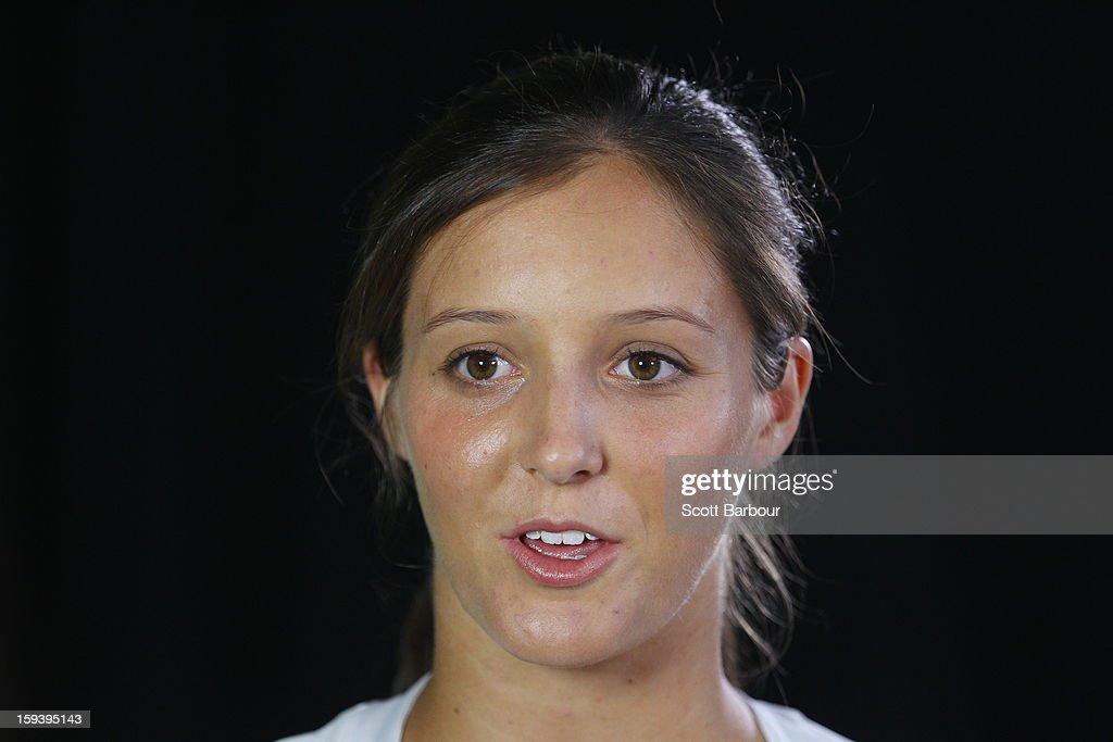 Laura Robson of Great Britain looks on at the Adidas by Stella McCartney media launch on January 13, 2013 in Melbourne, Australia. To globally launch the first adidas by Stella McCartney collection tennis players Caroline Wozniacki, Maria Kirilenko and Laura Robson played tennis in the world's first mirror court.