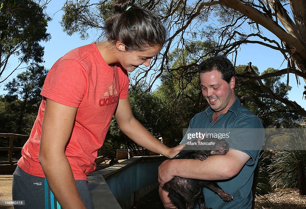 Laura Robson of Great Britain pats a Tasmanian Devil on a visit to Bonorong Wildlife Sanctuary during day two of the Hobart International at Domain Tennis Centre on January 5, 2013 in Hobart, Australia.