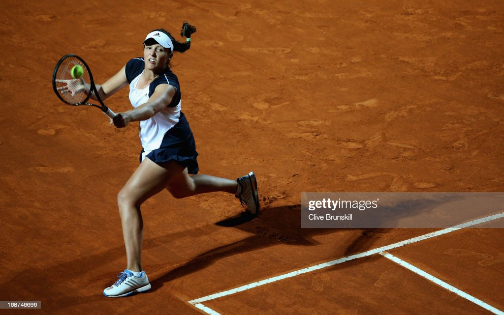 Laura Robson of Great Britain plays a backhand against Serena Williams of the USA in their second round match during day three of the Internazionali BNL d'Italia 2013 at the Foro Italico Tennis Centre on May 14, 2013 in Rome, Italy.