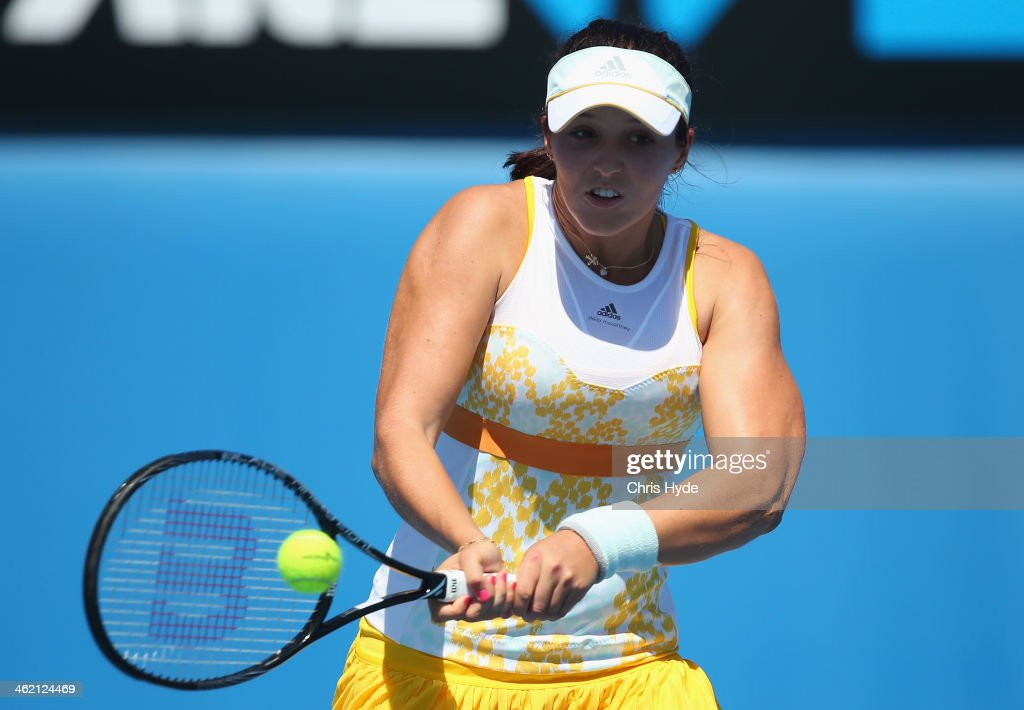 <a gi-track='captionPersonalityLinkClicked' href=/galleries/search?phrase=Laura+Robson&family=editorial&specificpeople=5421044 ng-click='$event.stopPropagation()'>Laura Robson</a> of Great Britain plays a backhand in her first round match against Kirsten Flipkens of Belgium during day one of the 2014 Australian Open at Melbourne Park on January 13, 2014 in Melbourne, Australia.