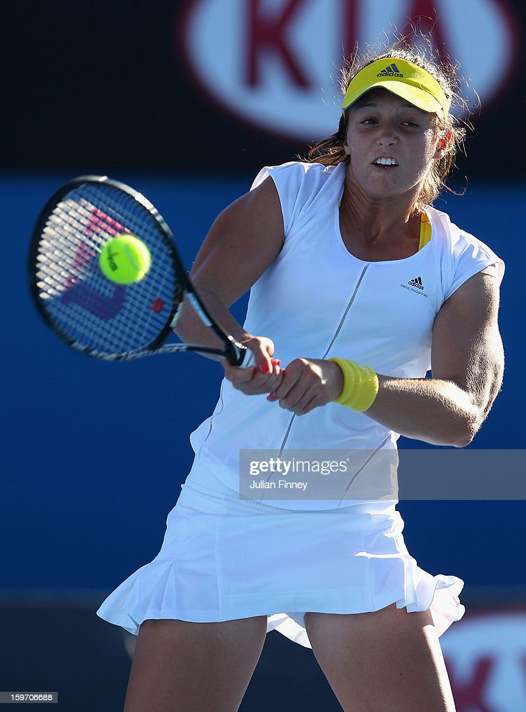 Laura Robson of Great Britain plays a backhand in her third round match against Sloane Stephens of the United States during day six of the 2013 Australian Open at Melbourne Park on January 19, 2013 in Melbourne, Australia.