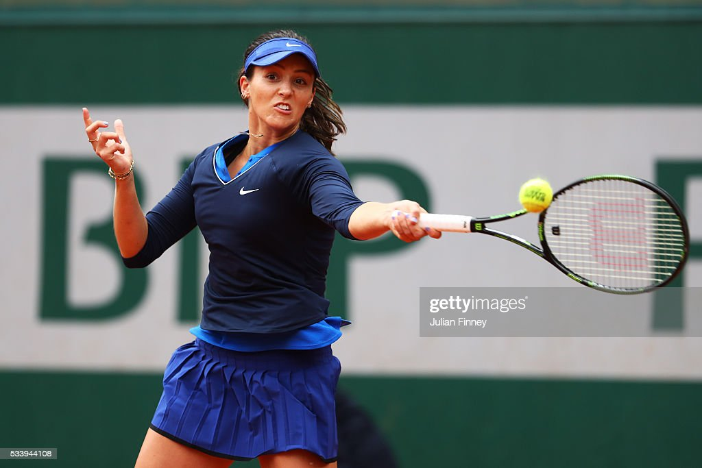 <a gi-track='captionPersonalityLinkClicked' href=/galleries/search?phrase=Laura+Robson&family=editorial&specificpeople=5421044 ng-click='$event.stopPropagation()'>Laura Robson</a> of Great Britain plays a forehand during the Women's Singles first round match against Andrea Petkovic of Germany on day three of the 2016 French Open at Roland Garros on May 24, 2016 in Paris, France.