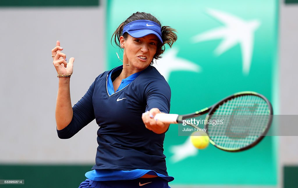 Laura Robson of Great Britain plays a forehand during the Women's Singles first round match against Andrea Petkovic of Germany on day three of the 2016 French Open at Roland Garros on May 24, 2016 in Paris, France.