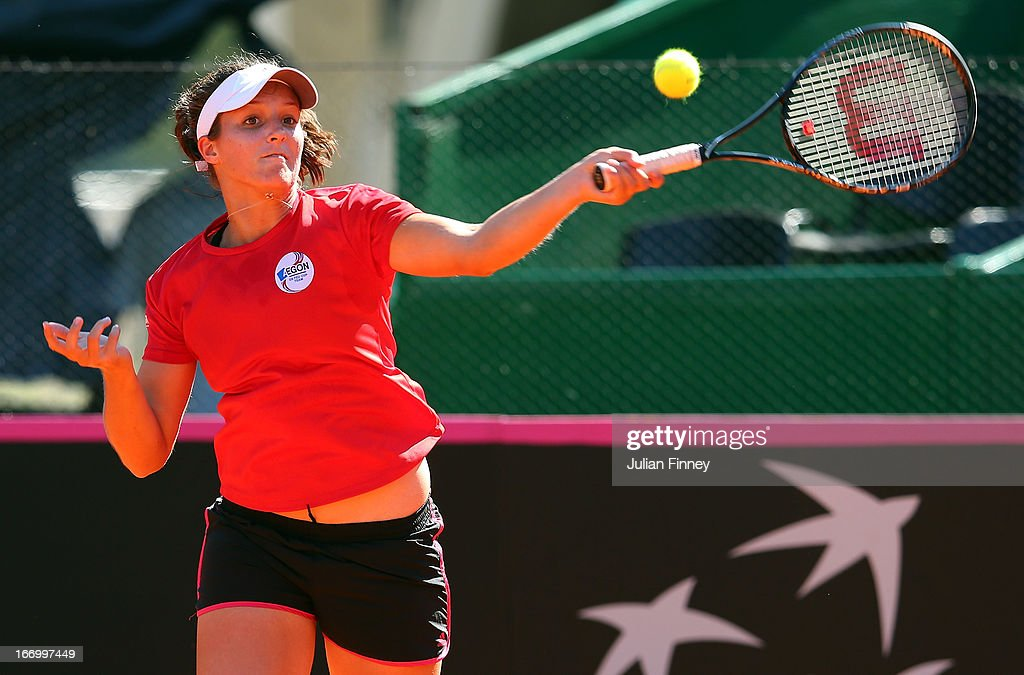 Laura Robson of Great Britain plays a forehand in a practice session during previews ahead of the Fed Cup World Group Two Play-Offs between Argentina and Great Britain at Parque Roca on April 19, 2013 in Buenos Aires, Argentina.