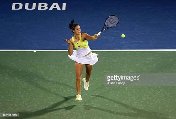 Laura Robson of Great Britain plays a forehand in her match against Yulia Putintseva of Kazakhstan during day one of the WTA Dubai Duty Free Tennis...