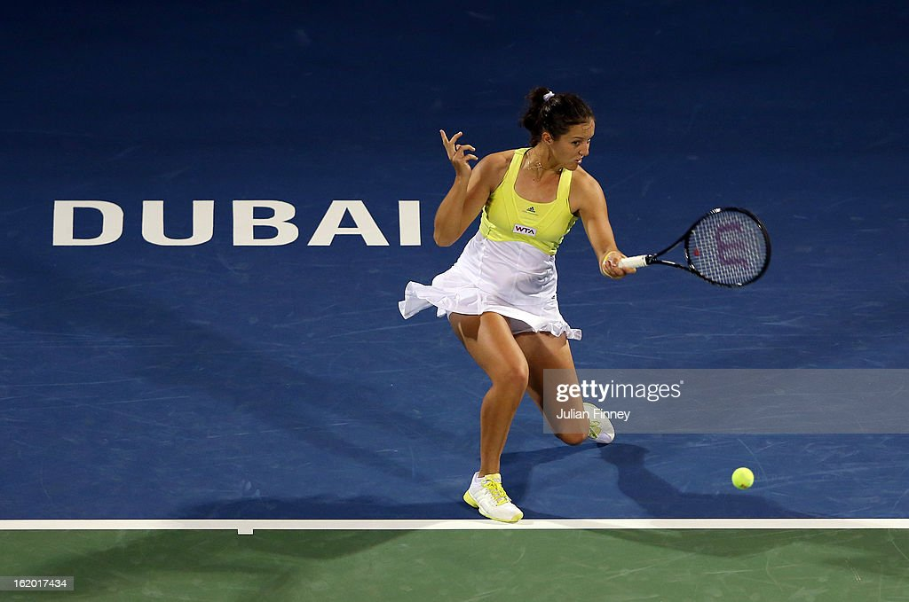 Laura Robson of Great Britain plays a forehand in her match against Yulia Putintseva of Kazakhstan during day one of the WTA Dubai Duty Free Tennis Championship on February 18, 2013 in Dubai, United Arab Emirates.