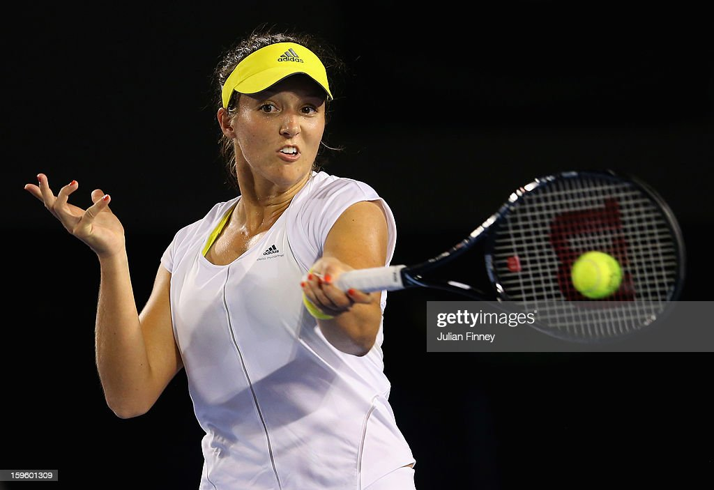 Laura Robson of Great Britain plays a forehand in her second round match against Petra Kvitova of Czech Republic during day four of the 2013 Australian Open at Melbourne Park on January 17, 2013 in Melbourne, Australia.