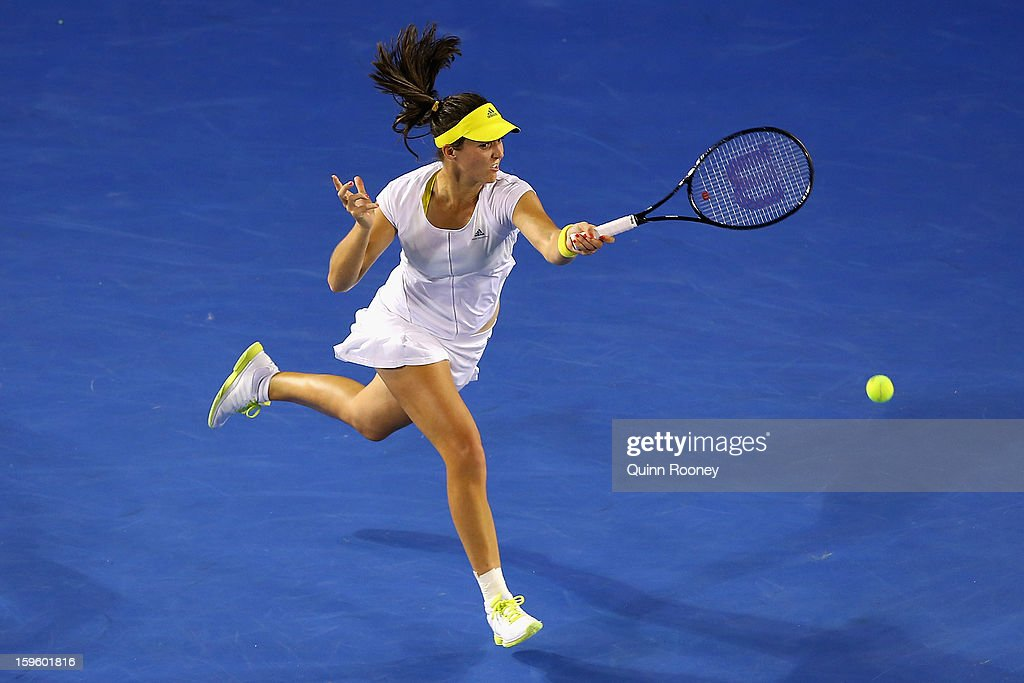 Laura Robson of Great Britain plays a forehand in her second round match against Petra Kvitova of the Czech Republic during day four of the 2013 Australian Open at Melbourne Park on January 17, 2013 in Melbourne, Australia.