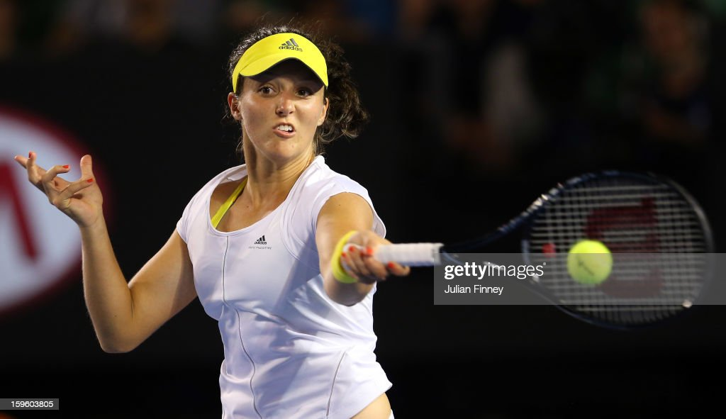 <a gi-track='captionPersonalityLinkClicked' href=/galleries/search?phrase=Laura+Robson&family=editorial&specificpeople=5421044 ng-click='$event.stopPropagation()'>Laura Robson</a> of Great Britain plays a forehand in her second round match against Petra Kvitova of Czech Republic during day four of the 2013 Australian Open at Melbourne Park on January 17, 2013 in Melbourne, Australia.