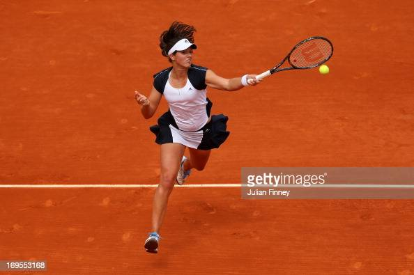 Laura Robson of Great Britain plays a forehand in her Women's Singles match against Caroline Wozniacki of Denmark during day two of the French Open...