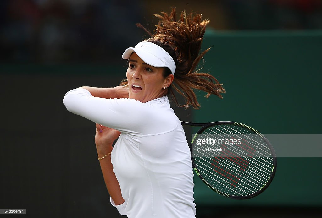 <a gi-track='captionPersonalityLinkClicked' href=/galleries/search?phrase=Laura+Robson&family=editorial&specificpeople=5421044 ng-click='$event.stopPropagation()'>Laura Robson</a> of Great Britain plays a forehand shot during the Ladies Singles first round match against Angelique Kerber of Germany on day one of the Wimbledon Lawn Tennis Championships at the All England Lawn Tennis and Croquet Club on June 27th, 2016 in London, England.