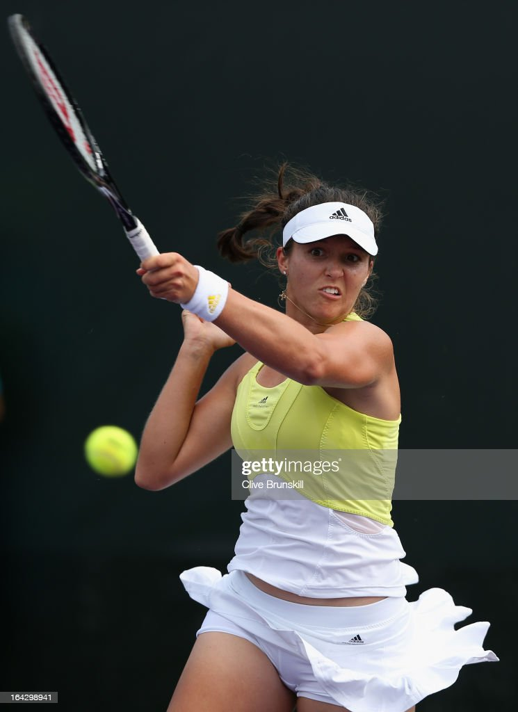 Laura Robson of Great Britain plays a forehand to Alize Cornet of France during their second round match at the Sony Open at Crandon Park Tennis Center on March 22, 2013 in Key Biscayne, Florida.