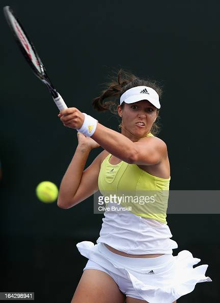 Laura Robson of Great Britain plays a forehand to Alize Cornet of France during their second round match at the Sony Open at Crandon Park Tennis...