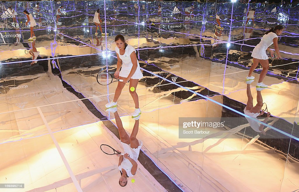 <a gi-track='captionPersonalityLinkClicked' href=/galleries/search?phrase=Laura+Robson&family=editorial&specificpeople=5421044 ng-click='$event.stopPropagation()'>Laura Robson</a> of Great Britain plays a game of tennis on a mirror court at the Adidas by Stella McCartney media launch on January 13, 2013 in Melbourne, Australia. To globally launch the first adidas by Stella McCartney collection tennis players Caroline Wozniacki, Maria Kirilenko and <a gi-track='captionPersonalityLinkClicked' href=/galleries/search?phrase=Laura+Robson&family=editorial&specificpeople=5421044 ng-click='$event.stopPropagation()'>Laura Robson</a> played tennis in the world's first mirror court.