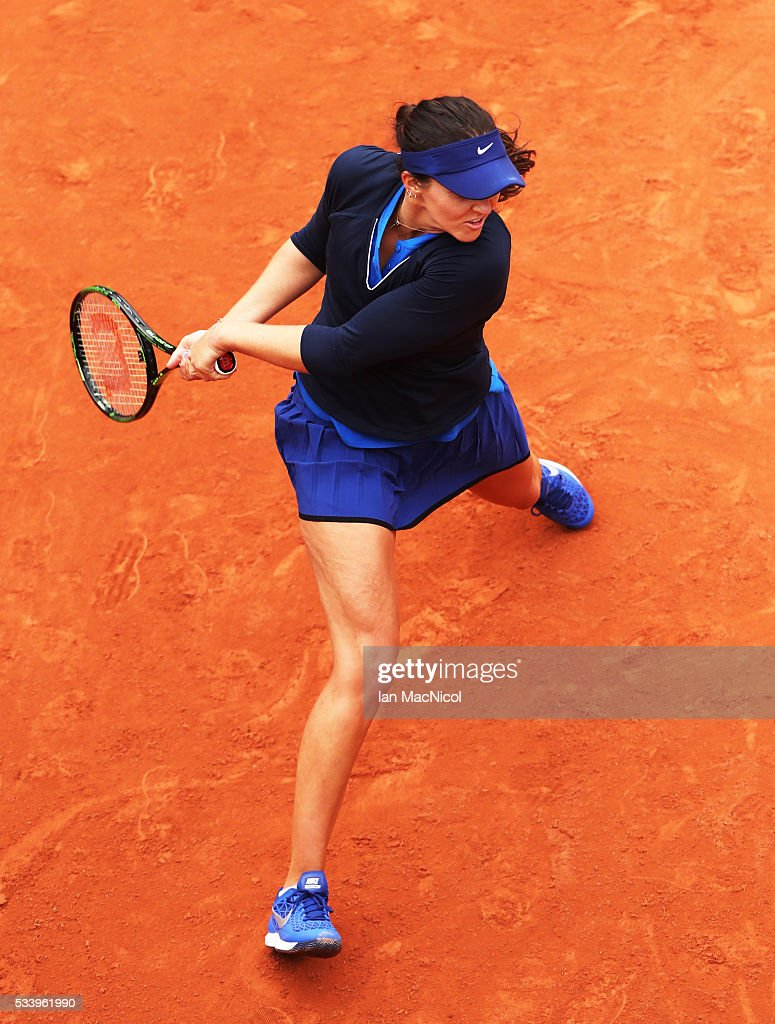 Laura Robson of Great Britain plays a shot during the Women's Singles first round match against Andrea Petkovic of Germany on day three of the 2016 French Open at Roland Garros on May 24, 2016 in Paris, France .