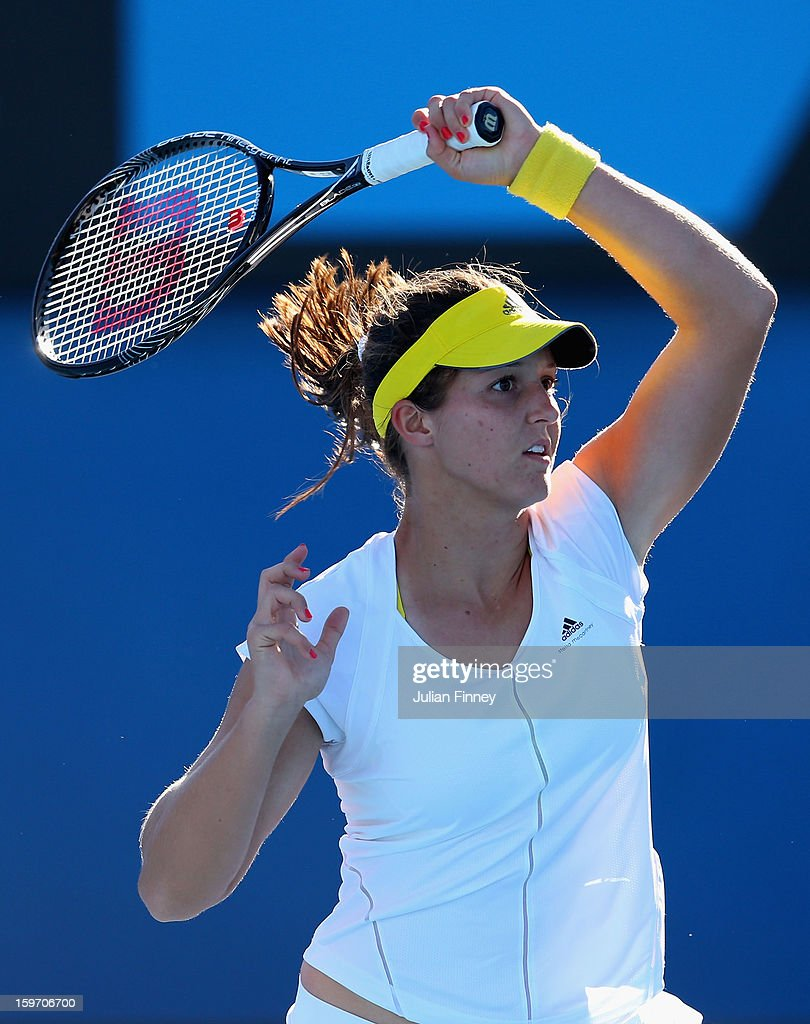 Laura Robson of Great Britain plays a shot in her third round match against Sloane Stephens of the United States during day six of the 2013 Australian Open at Melbourne Park on January 19, 2013 in Melbourne, Australia.