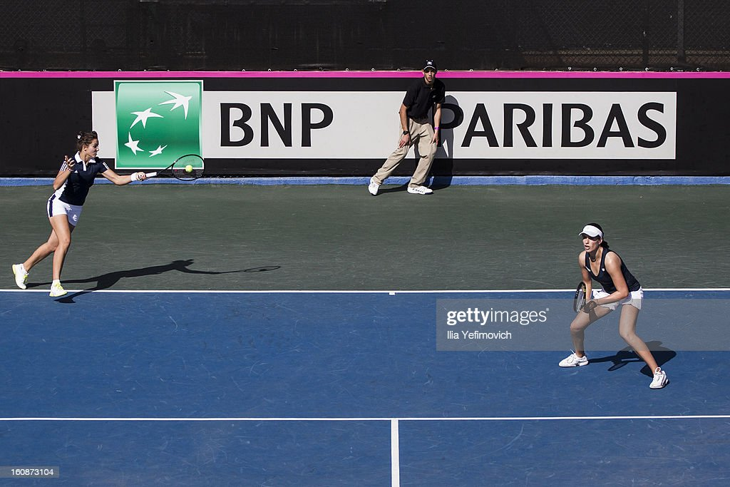 Laura Robson of Great Britain plays a shot in their match with Johanna Konta against Jelena Simic and Jasmina Kajtszovic during the tie between Great Britain and Bosnia and Herzegovina during the Fed Cup Europe/Africa Group One fixture at the Municipal Tennis Club on February 7, 2013 in Eilat, Israel.