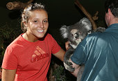 Laura Robson of Great Britain poses with a Koala on a visit to Bonorong Wildlife Sanctuary during day two of the Hobart International at Domain...