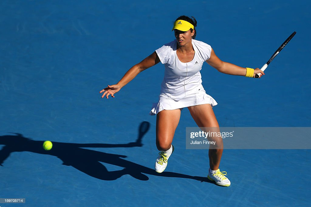 Laura Robson of Great Britain prepares to play a forehand in her third round match against Sloane Stephens of the United States during day six of the 2013 Australian Open at Melbourne Park on January 19, 2013 in Melbourne, Australia.