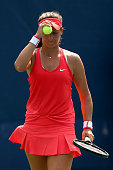 Laura Robson of Great Britain reacts against Elena Vesnina of Russia during their Women's Singles First Round match on Day Two of the 2015 US Open at...
