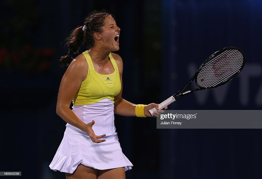 <a gi-track='captionPersonalityLinkClicked' href=/galleries/search?phrase=Laura+Robson&family=editorial&specificpeople=5421044 ng-click='$event.stopPropagation()'>Laura Robson</a> of Great Britain reacts in her match against Yulia Putintseva of Kazakhstan during day one of the WTA Dubai Duty Free Tennis Championship on February 18, 2013 in Dubai, United Arab Emirates.