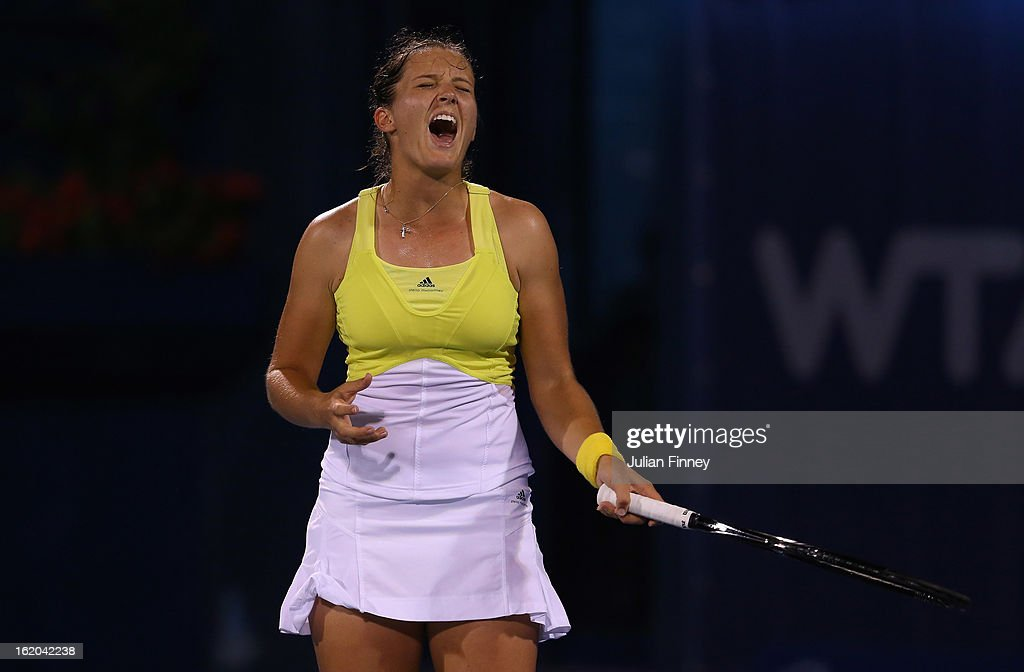 Laura Robson of Great Britain reacts in her match against Yulia Putintseva of Kazakhstan during day one of the WTA Dubai Duty Free Tennis Championship on February 18, 2013 in Dubai, United Arab Emirates.