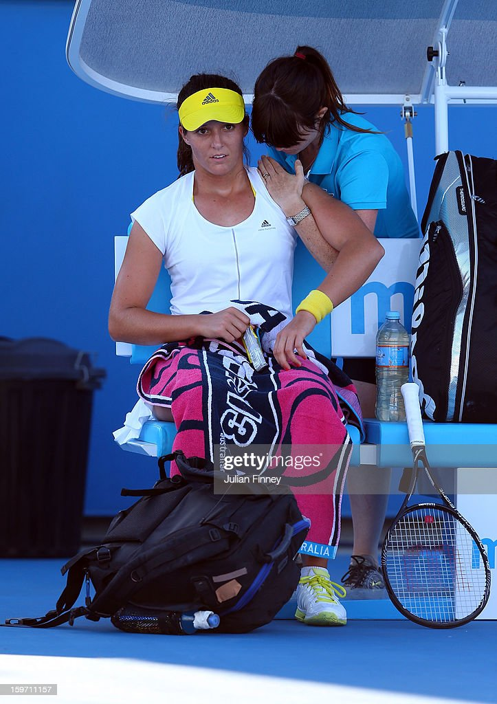 Laura Robson of Great Britain receives medical attention in her third round match against Sloane Stephens of the United States during day six of the 2013 Australian Open at Melbourne Park on January 19, 2013 in Melbourne, Australia.