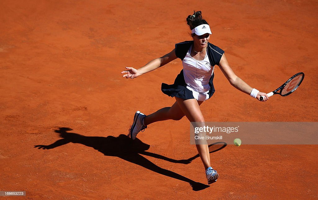 Laura Robson of Great Britain runs to play a forehand against Venus Williams of the USA in their first round match during day two of the Internazionali BNL d'Italia 2013 at the Foro Italico Tennis Centre on May 13, 2013 in Rome, Italy.