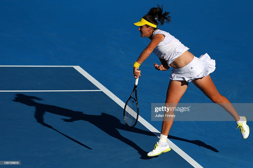 Laura Robson of Great Britain serves in her third round match against Sloane Stephens of the United States during day six of the 2013 Australian Open at Melbourne Park on January 19, 2013 in Melbourne, Australia.