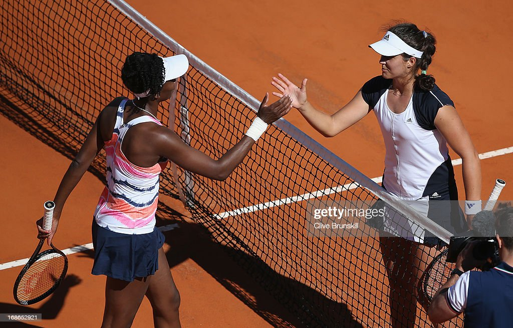 Laura Robson of Great Britain shakes hands at the net after her straight sets victory against Venus Williams of the USA in their first round match during day two of the Internazionali BNL d'Italia 2013 at the Foro Italico Tennis Centre on May 13, 2013 in Rome, Italy.