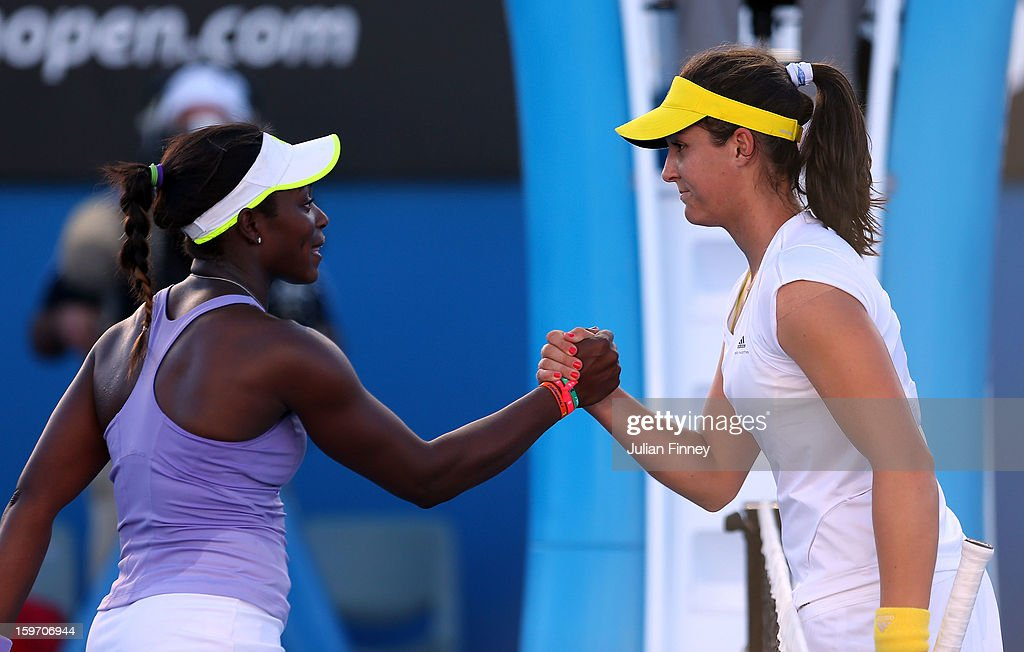 Laura Robson of Great Britain shakes hands with Sloane Stephens of the United States after their third round match during day six of the 2013 Australian Open at Melbourne Park on January 19, 2013 in Melbourne, Australia.