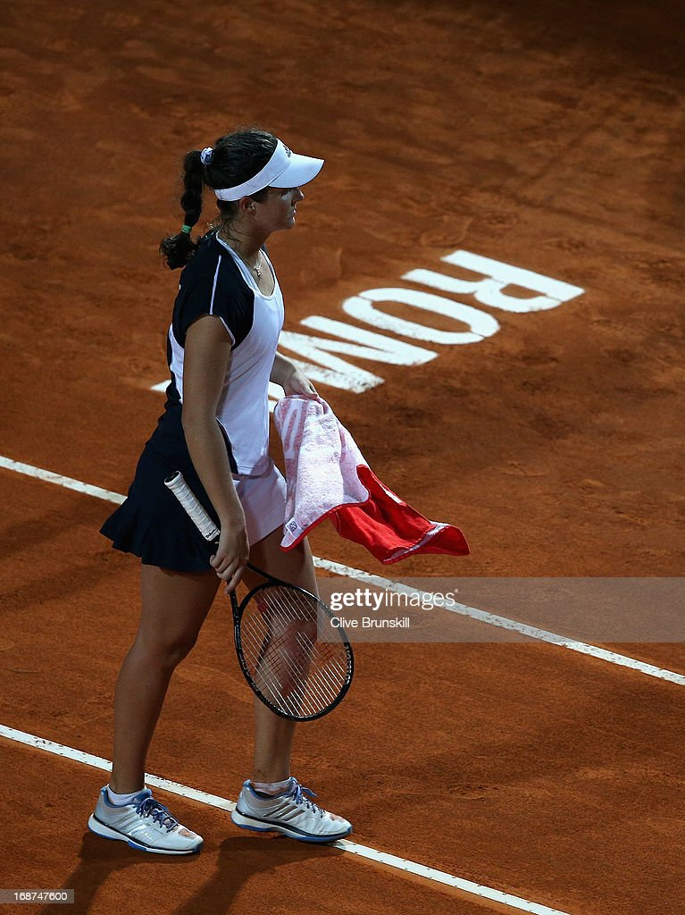 Laura Robson of Great Britain shows her dejection against Serena Williams of the USA in their second round match during day three of the Internazionali BNL d'Italia 2013 at the Foro Italico Tennis Centre on May 14, 2013 in Rome, Italy.