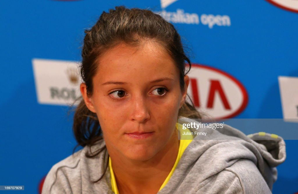Laura Robson of Great Britain speaks to the media at a press conference after losing her third round match against Sloane Stephens of the United States during day six of the 2013 Australian Open at Melbourne Park on January 19, 2013 in Melbourne, Australia.