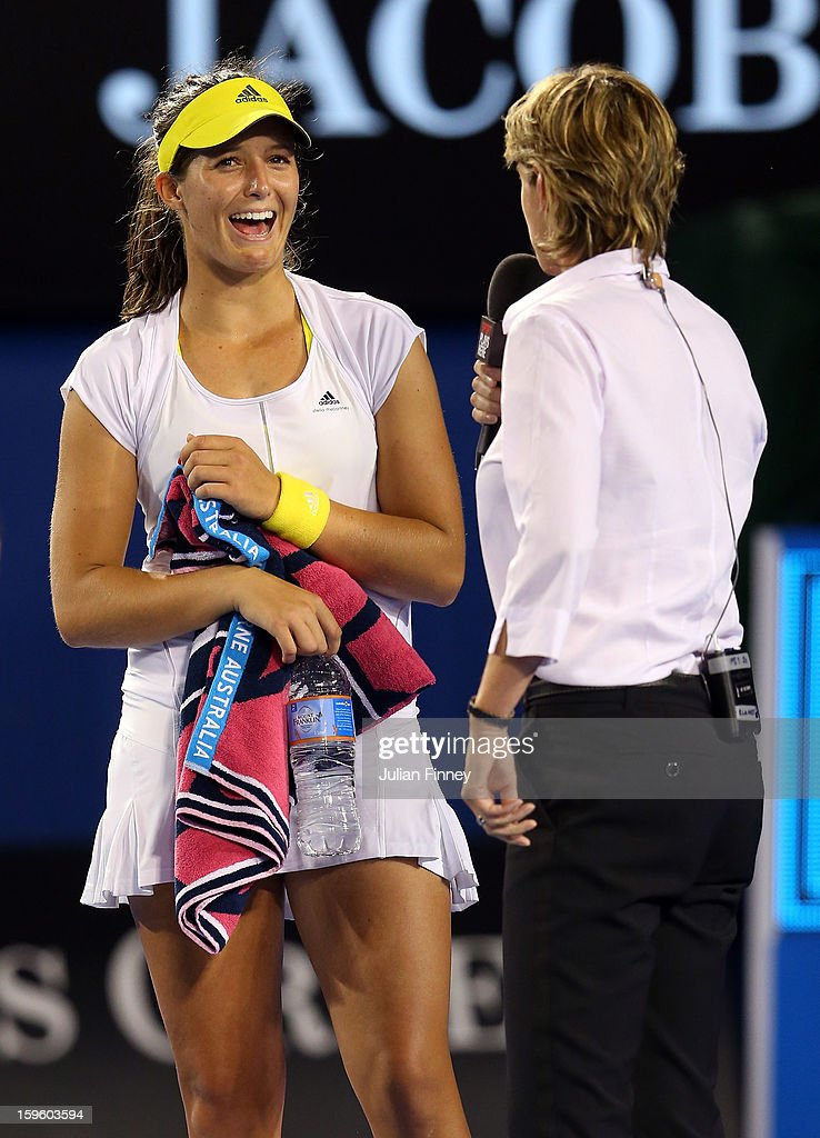 Laura Robson of Great Britain talks to Sam Smith in the post match interview after defeating Petra Kvitova of Czech Republic in her second round match during day four of the 2013 Australian Open at Melbourne Park on January 17, 2013 in Melbourne, Australia.