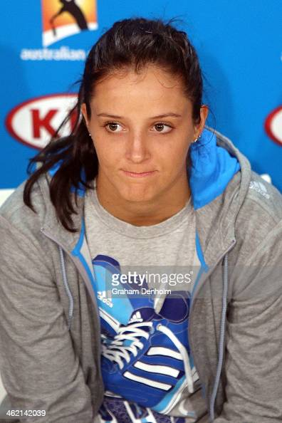 Laura Robson of Great Britain talks to the media during day one of the 2014 Australian Open at Melbourne Park on January 13 2014 in Melbourne...
