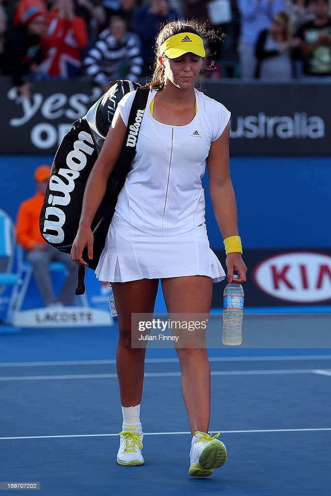 Laura Robson of Great Britain walks from court after losing her third round match against Sloane Stephens of the United States during day six of the 2013 Australian Open at Melbourne Park on January 19, 2013 in Melbourne, Australia.