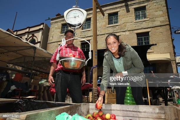 Laura Robson of of Great Britain poses at Salamanca Markets ahead of the Moorilla Hobart International at Domain Tennis Centre on January 4 2014 in...