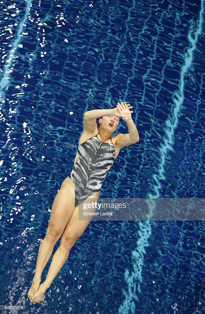 Laura Ryan competes in the Women's 3m Springboard final during day 9 of the 2016 U.S. Olympic Team Trials for diving at Indiana University Natatorium on June 26, 2016 in Indianapolis, Indiana.